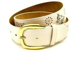 INC Womens White Leather Belt M NWT